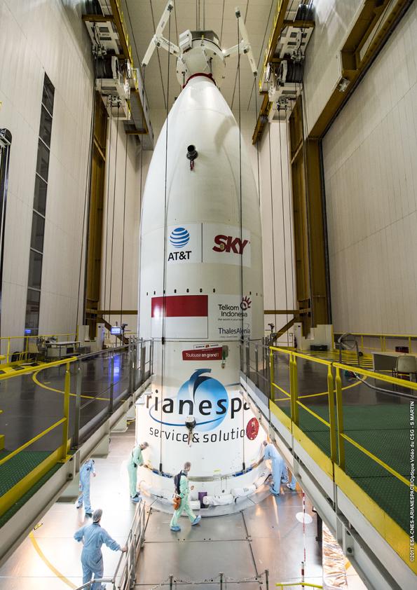 Satelit Telkom 3S telah berada di kepala roket Ariane 5 ECA, Merah Putih terpampang (© Arianespace)