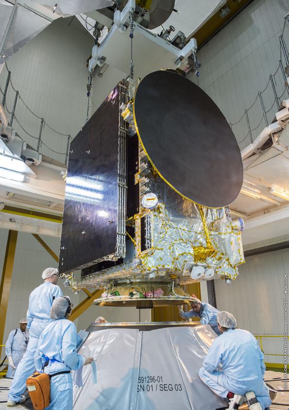 Pemasangan satelit pada dudukan modul kepala roket (© Arianespace)