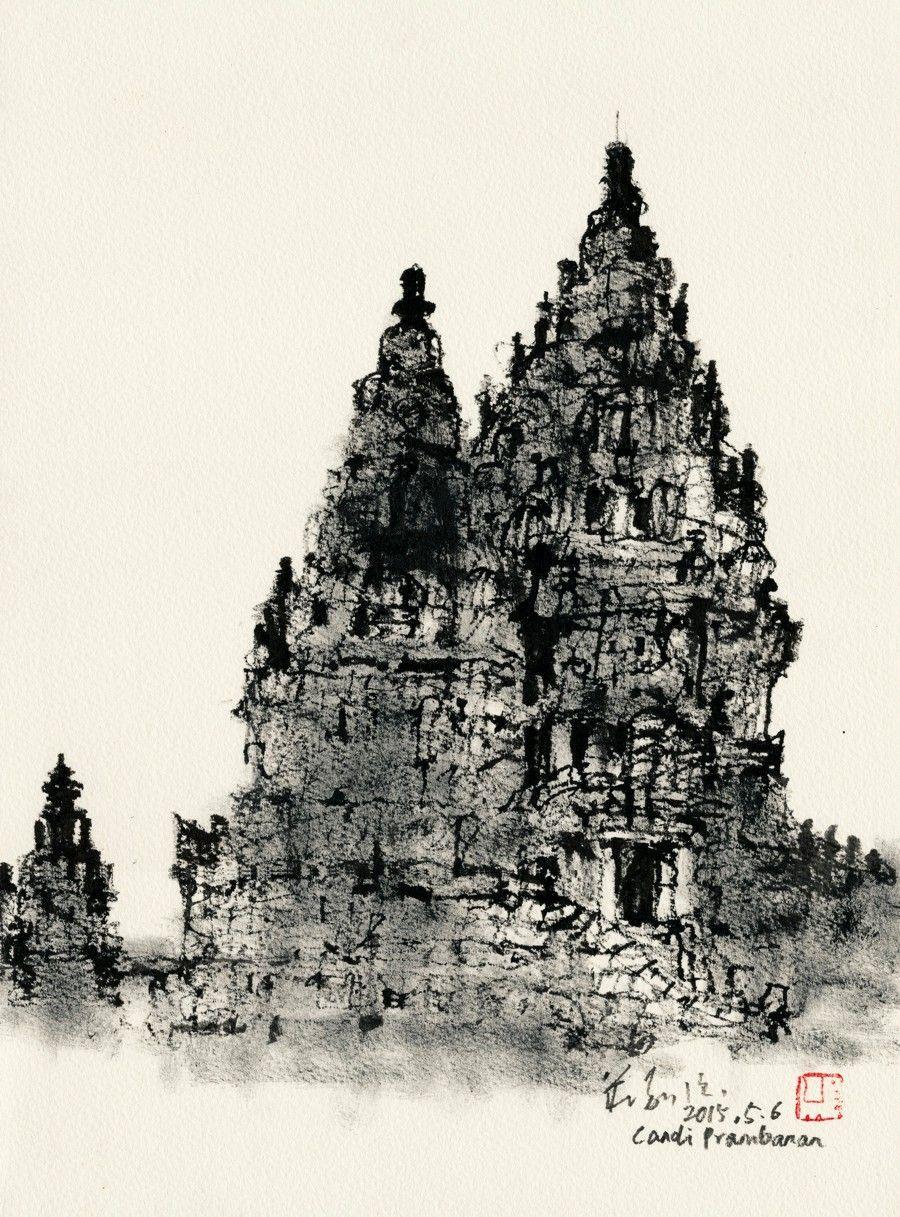 Sketsa Candi Prambanan | Sumber: Urban Sketchers