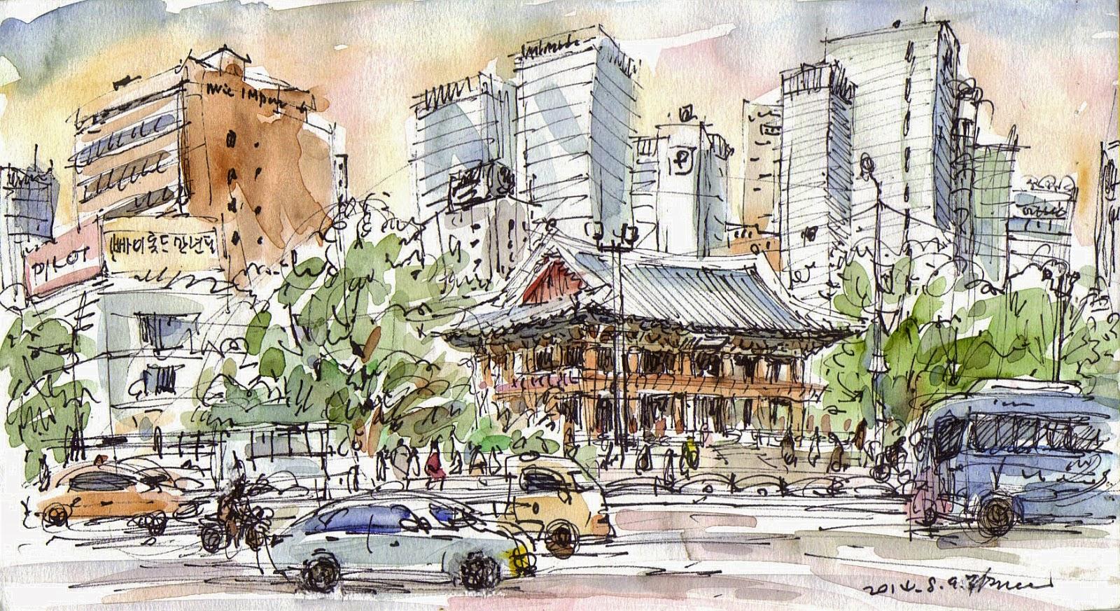 Salah satu contoh urban sketch pemandangan Korea | Sumber: Urban Sketchers