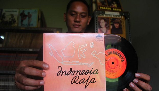 Piringan hitam lagu Indonesia Raya (TEMPO/Ahmad Rafiq)