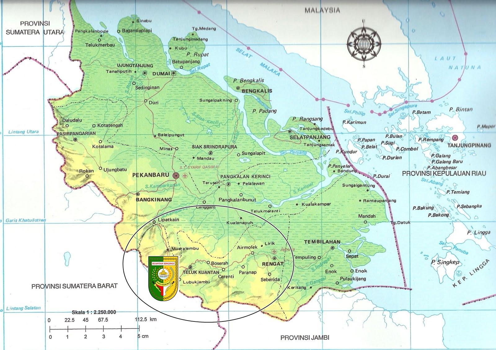 Peta Provinsi Riau dan Letak Kabupaten Kuantan Singingi
