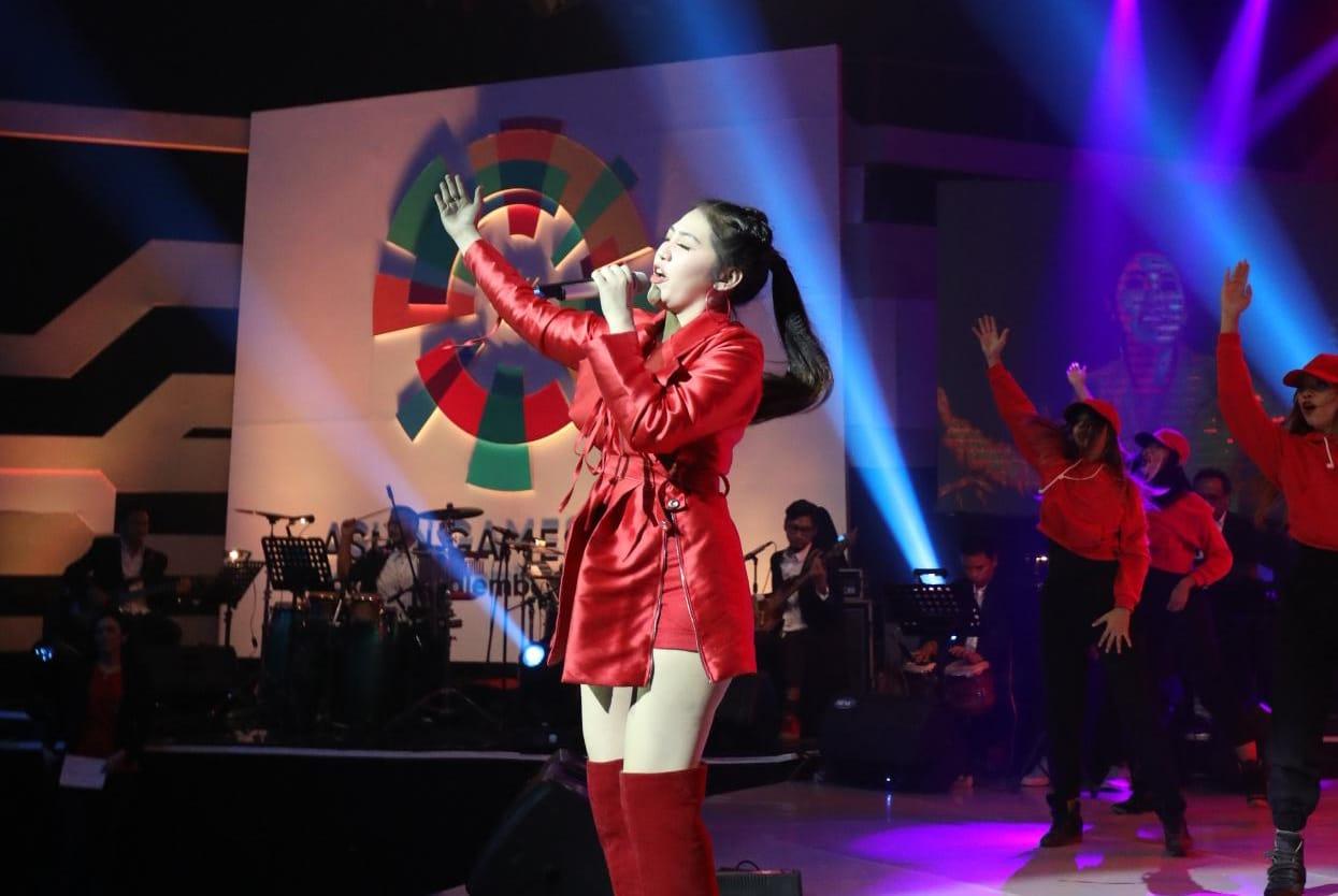 Via Vallen sebagai penyanyi lagu resmi Meraih Bintang | Foto: Dok. Asian Games 2018
