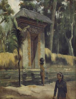 """Di depan pura"" by Dullah, Size: 68cm x 54cm, Medium: Oil on canvas, Year: 1969 (sumber : lelang lukisan maestro)"