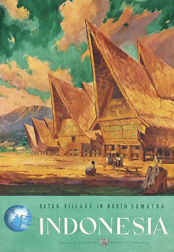 Poster di atas menunjukan sebuah perkampungan Batak di Sumatera Utara pada jaman dulu