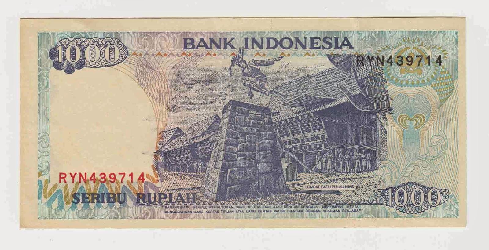 Uang pecahan Rp 1000 yang mengabdikan tradisi lompat batu, Sumber: 5.2.bp.blogspot.com