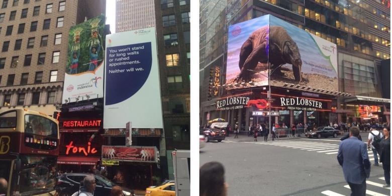 Billboard Gebog Bali dan Hewan Komodo di New York (assets.kompas.com)