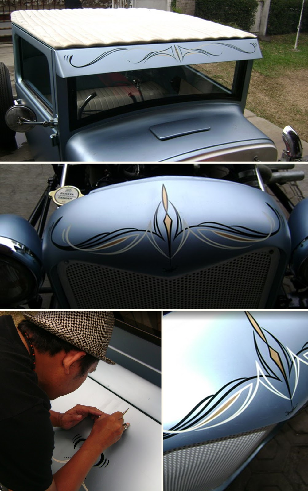 pinstripe karya freeflow pada mobil (http://freeflowkustompainting.blogspot.co.id)