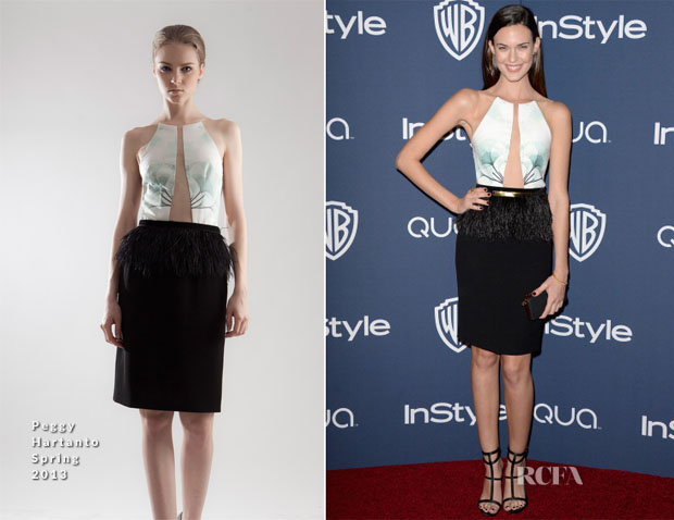 Artis Hollywood Odette Annable kenakan baju rancangan Peggy Hartanto (http://www.redcarpet-fashionawards.com/)