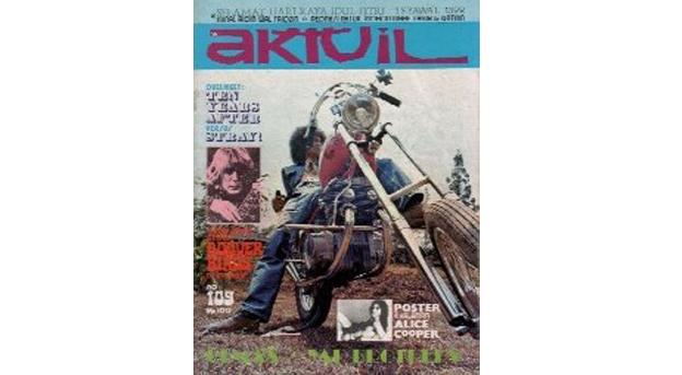cover majalah aktuil; gito rollies dan yamaha xs650 chopper (lawlessjakarta.com)