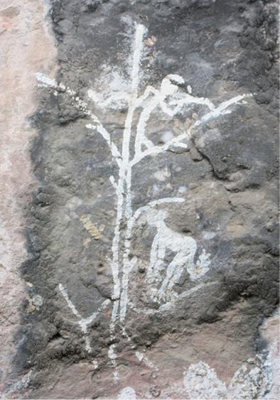 Lukisan batu bergambar monyet, hewan yang tak ada di Australia. Aborigin mungkin pernah berkunjung ke Sulawesi (via press.anu.edu.au)