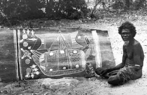 Suku Aborigin memperlihatkan gambar Perahu Suku Makassar (via islamcelebes.com)