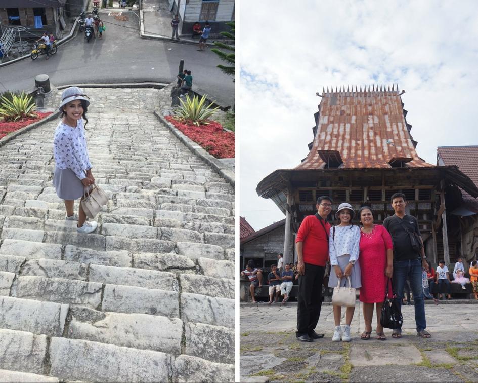 Kiri-Kanan: 77 anak tangga menuju Desa Bawomataluo - Foto bersama didepan Omo Sebua. © Fitria Dwi S