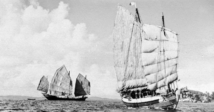 Kapal jung Tionghoa dekat Pulau Sambu pada tahun 1936 | Sumber: maritimeworld.web.id
