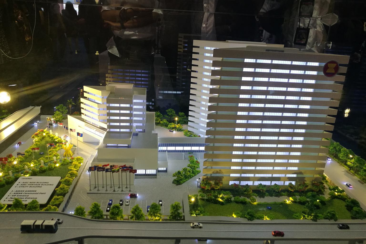 Model tiga dimensi dari gedung baru Sekretariat ASEAN. Foto: The Straits Times/Wahyudi Soeriaatmadja