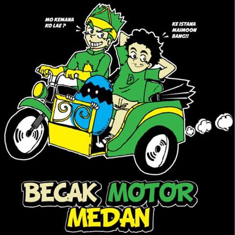 Ilustrasi Becak Motor Medan