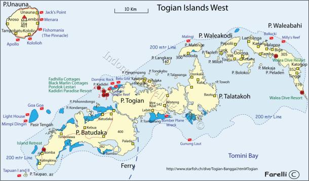 Peta Taman Nasional Kepulauan Togean
