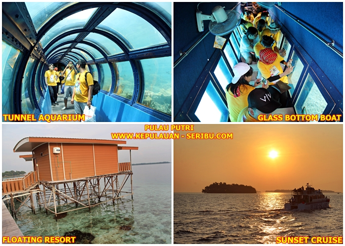 Fasilitas Pulau Putri, Glass Bottom Boat, Tunnel Aquarium, Sunset Cruise