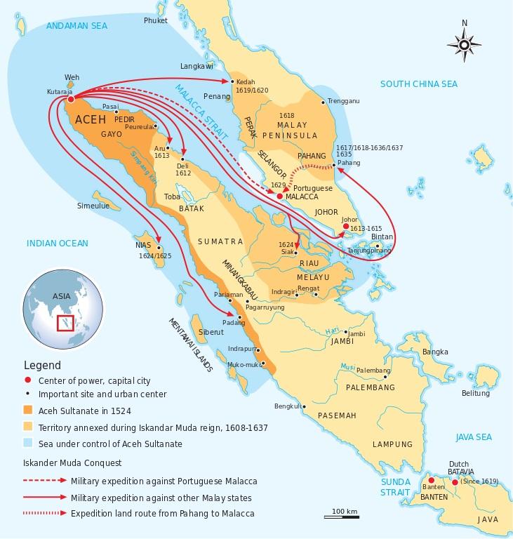 Wilayah kekuasaan Kesultanan Aceh Darussalam pada abad ke-16 ©