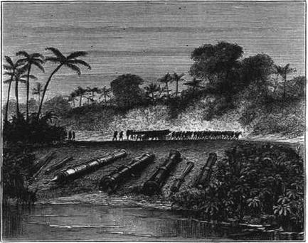 Sejumlah meriam Turki milik Aceh yang dilucuti oleh Belanda pada tahun 1874 ©
