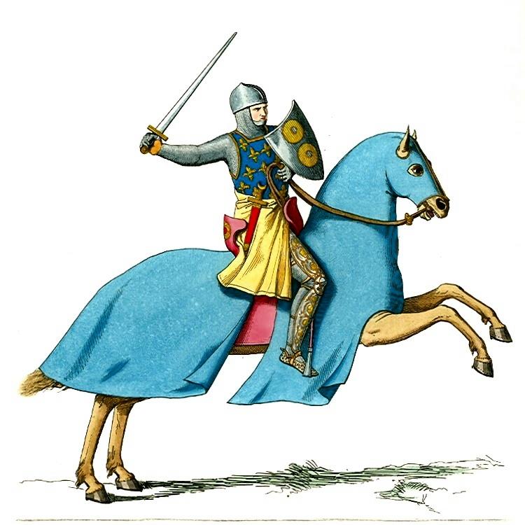 Ilustrasi Kesatria Eropa Abad Pertengahan. Kebanyakan kesatria Eropa menggunakan tangan kanan untuk memegang pedang sehingga membuat mereka berkendara di jalur kiri | Paul Mercuri (via Wikimedia Commons)