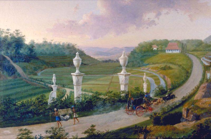 Lukisan yang menggambarkan Jalan Raya Pos. Kini, Jalan Raya Pos menjadi bagian utama di dalam Jalur Pantura | Tropenmuseum
