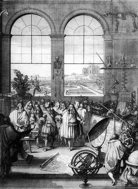 Ilustrasi yang menggambarkan Raja Louis XIV mengunjungi Académie des Sciences. Pada Abad Pencerahan, lembaga-lembaga cendekiawan mulai menjamur di Eropa © Sébastien Leclerc [Domain Publik] (via Wikimedia Commons)