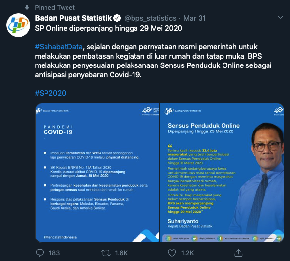 Tangkapan layar sosialisasi BPS terkait perpanjangan SPO