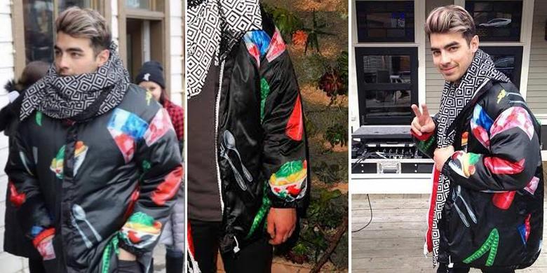 penyanyi Hollywood Joe Jonas pun pernah memakai jaket bergambar mangkuk ayam fenomenal ini (foto: kompas.com)