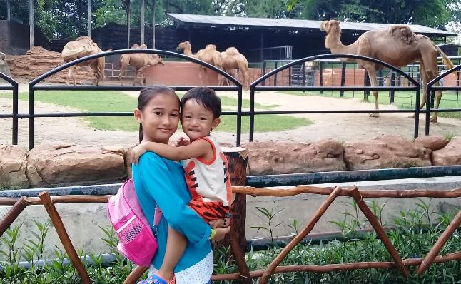 Dua orang anak berfoto dengan latar belakang satwa Unta, di Kebun Binatang Surabaya (KBS). Foto: KATAKNEWS.com