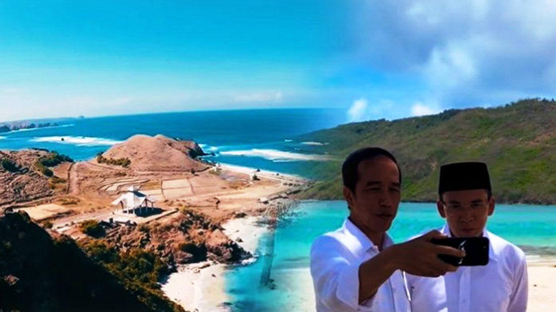 Presiden Jokowi membuat Vlog bersama Gubernur NTB, TGH M Zainul Majdi, usai peresmian KEK Mandalika, Oktober 2017 lalu. Foto:Dok.infonawacita.com