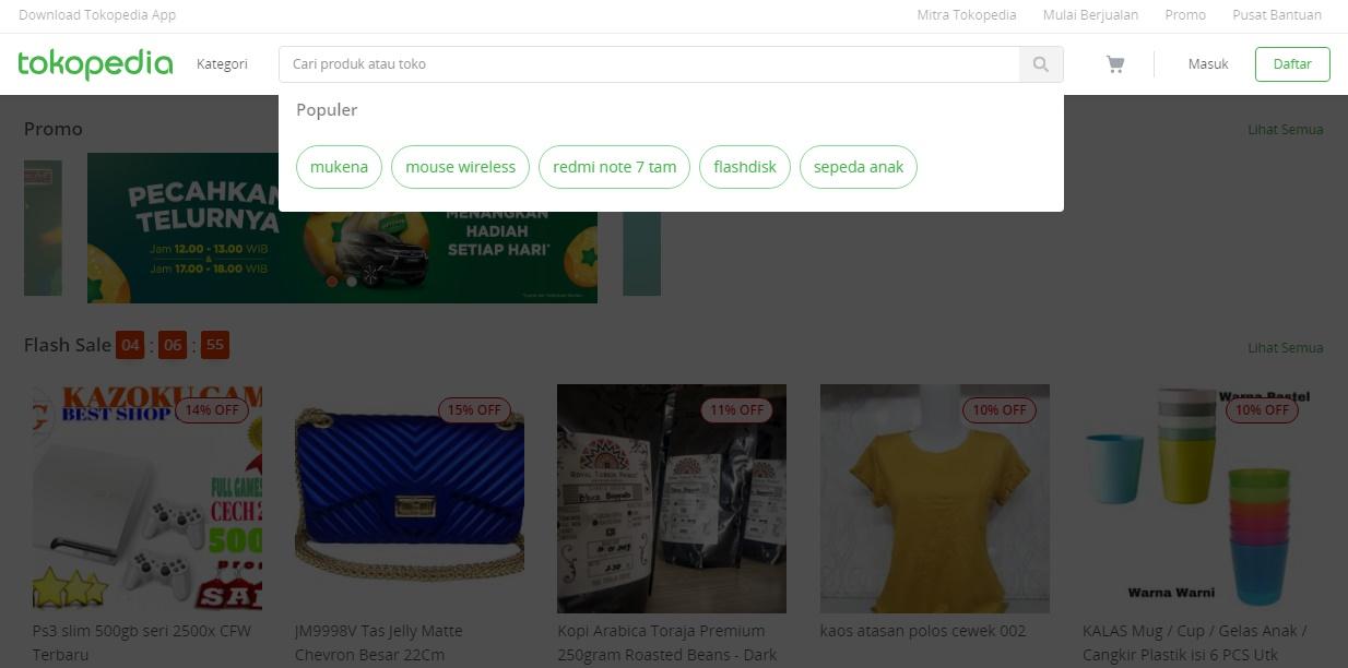 pencarian tokopedia saat ini