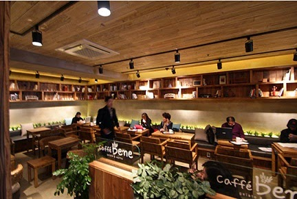 Konsep minimalis Cafe Bene via qraved.com