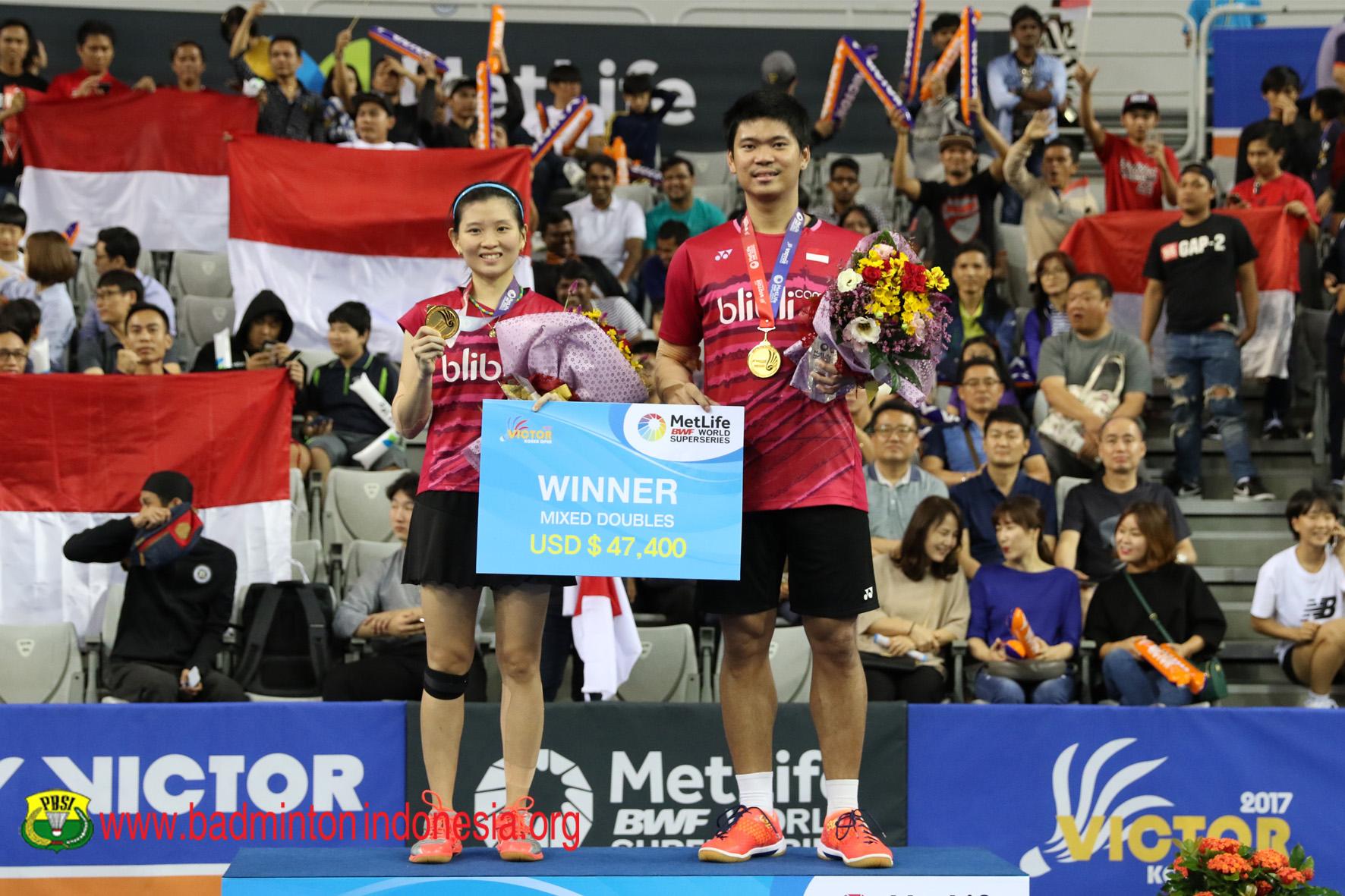Praveen Jordan dan Debby Susanto juara Ganda Campuran Korea Open 2017 (badmintonindonesia.org)