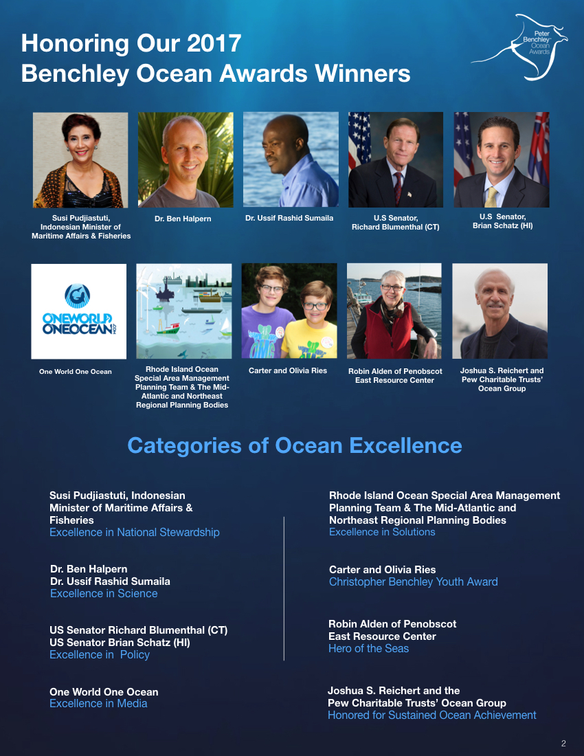 Deretan para penerima Peter Benchley Ocean Awards 2017 (peterbenchleyoceanawards.org)