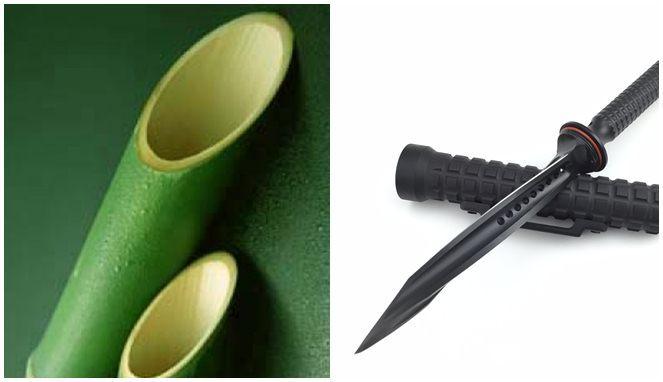 Bambu Runcing dan Pisau Jagdkomando, sama - sama memiliki keistimewaan sebagai senjata mematikan (sumber : boombastis.com)