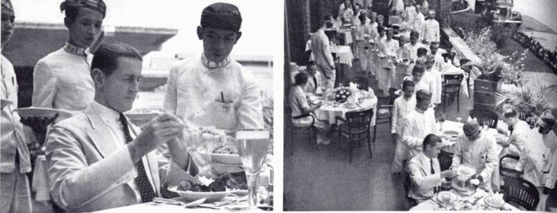 Suasana penyajian Rijsttafel di restoran (sumber : http://elevanov.blogspot.co.id/)