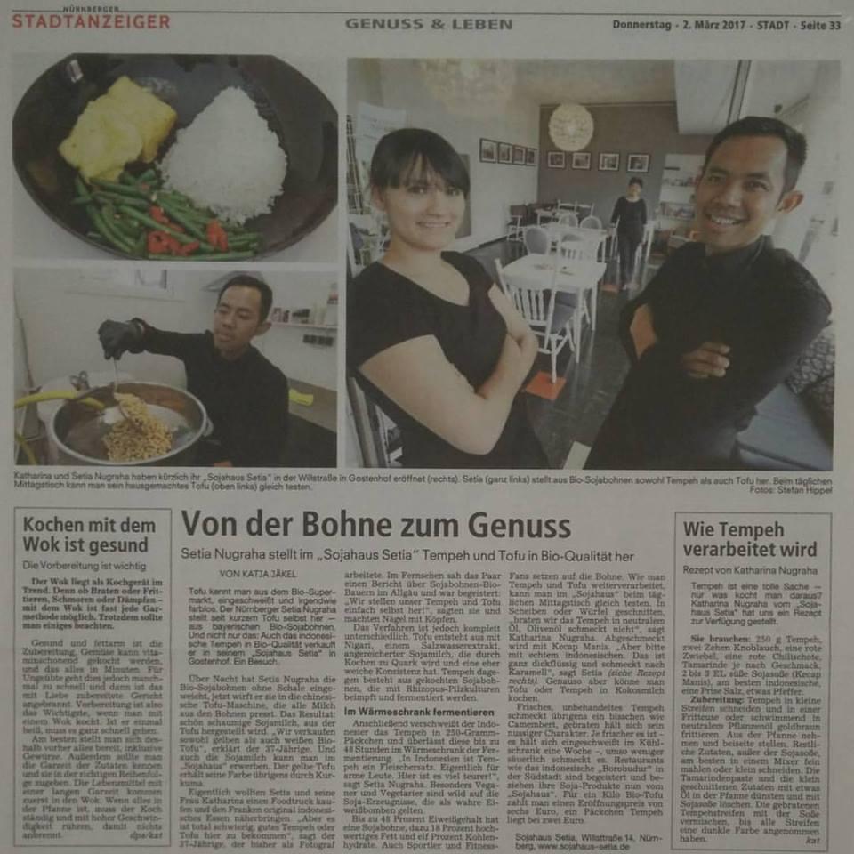 Setia dan Katharina  beserta Sojahaus dalam salah satu koran lokal di Jerman (facebook.com/sojahaussetia)