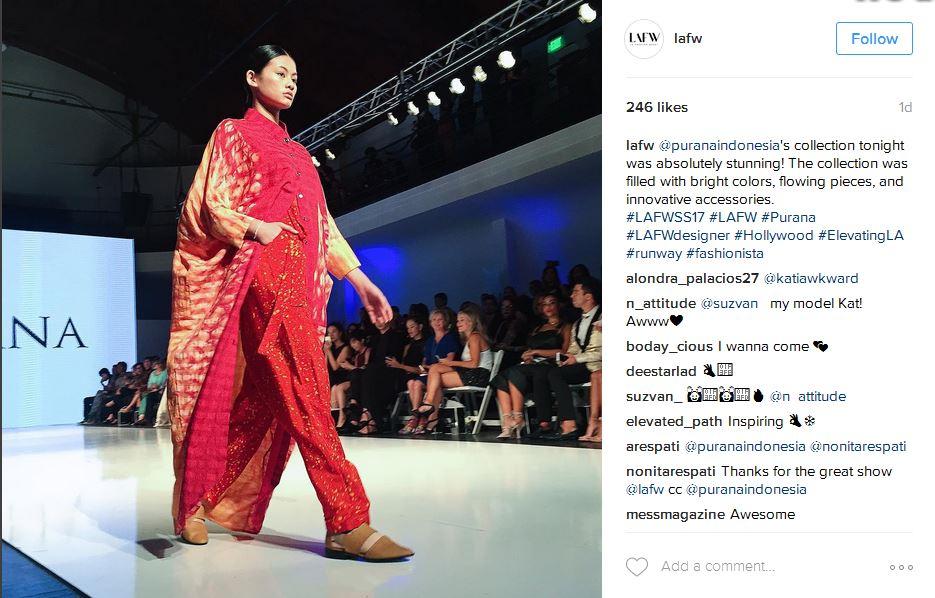 koleksi Purana Indonesia yang tampil di LAFW pada 29 September. foto: instagram lafw