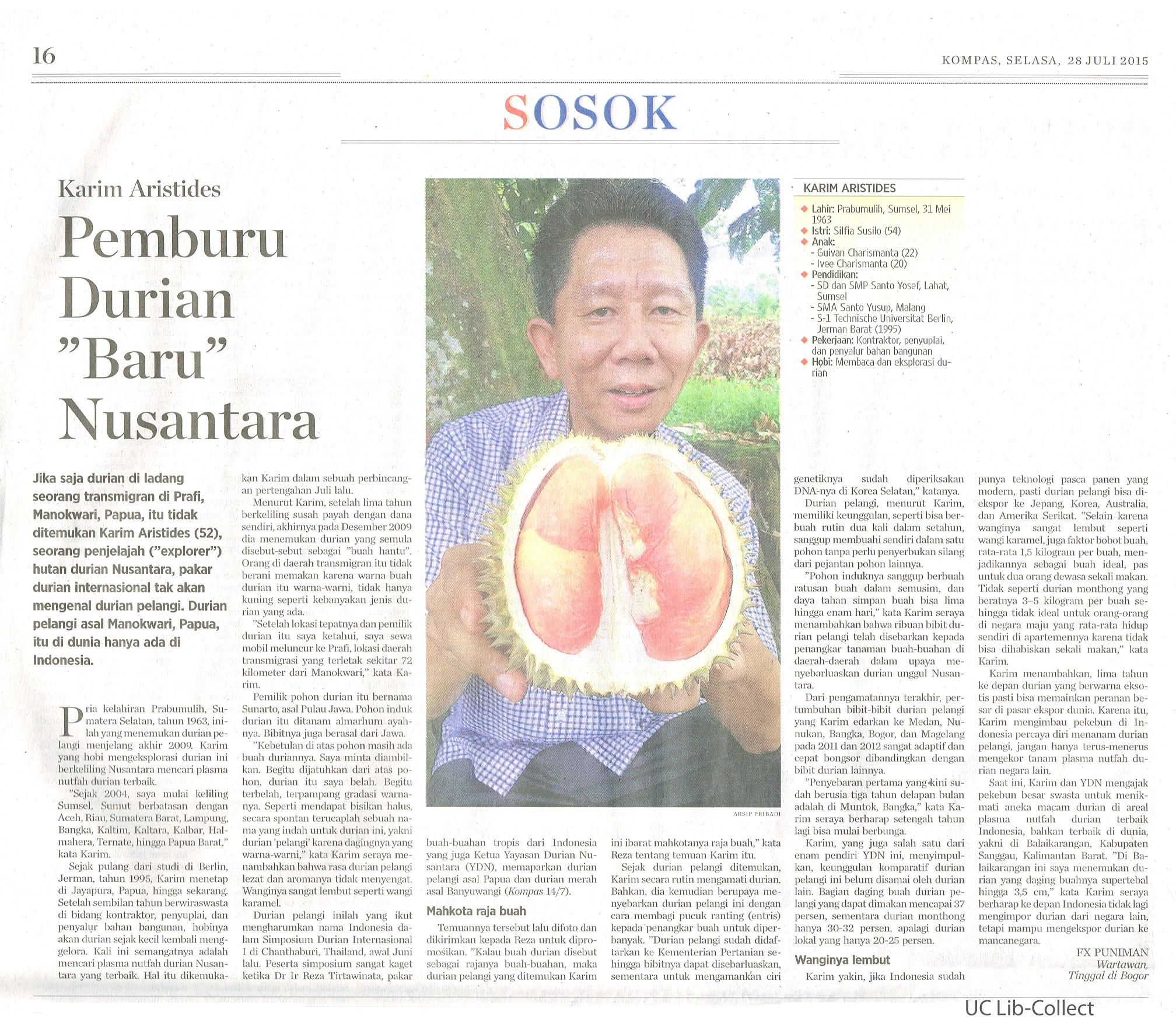 Karim Aristides adalah penemu Varietas Durian Pelangi | Foto : Universitas Ciputra