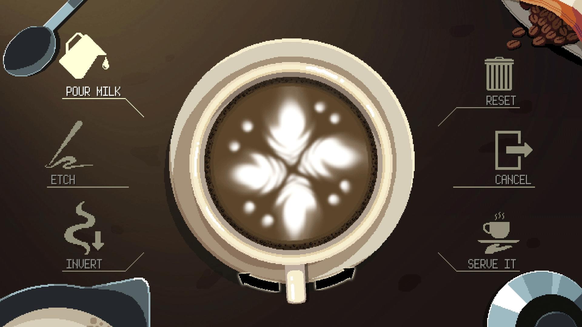 Selain membuat kopi, pemain juga dapat membuat latte art berbagai bentuk   Foto : coffeetalk.info