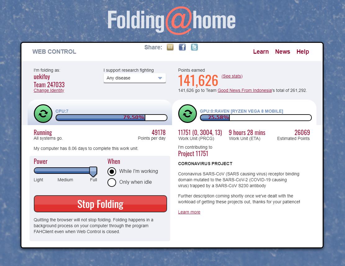 Tampilan Web Control Folding@home