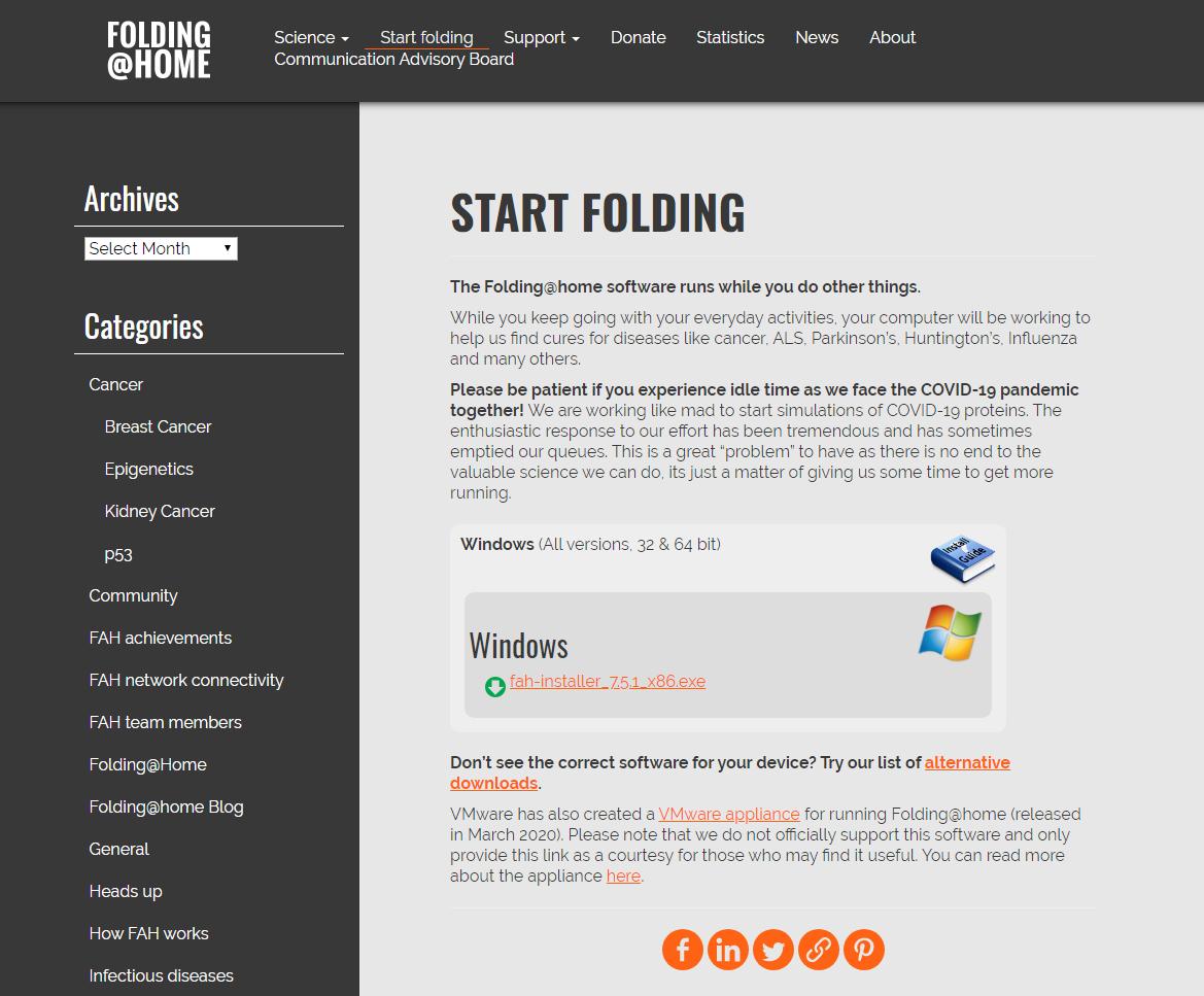Tangkapan layar halaman Start Folding Folding@home